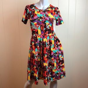 LuLaRoe Amelia Multicolored Retro Print Dress